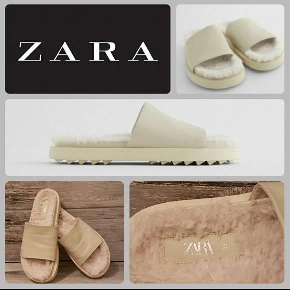 EUC Zara Leather Sandals w/Fleece